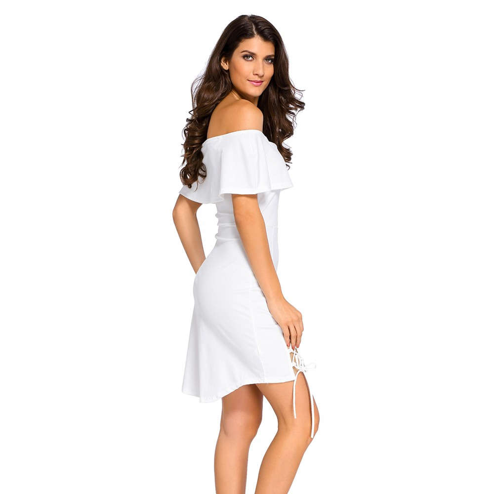 6887bbd966 White Off Shoulder Lace Up Skater Dress