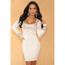 Double Lining Pleated Mini Dress White