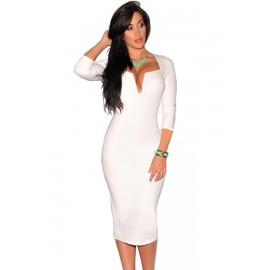 Plunging V Neck Party Midi Dress White