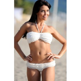 Hot style White Ruffled Bikini Swimwear Set