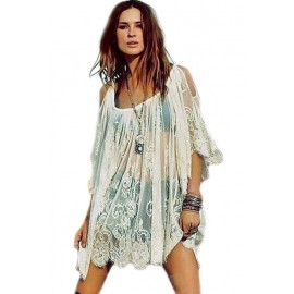 Floral Embroidery Sheer Lace Open Shoulder Cover-up