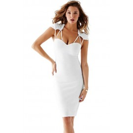 White Strappy Cutout Slim Midi Dress