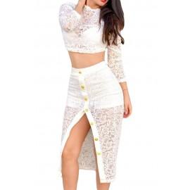 White Sheer Lace Crop Top Midi Split Skirt Set