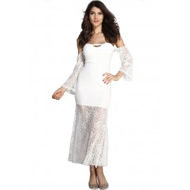 Slash Neck Strapless Lace Long Sleeve Maxi Dress White