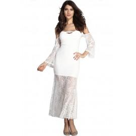 Slash Neck Strapless Maxi Dress White