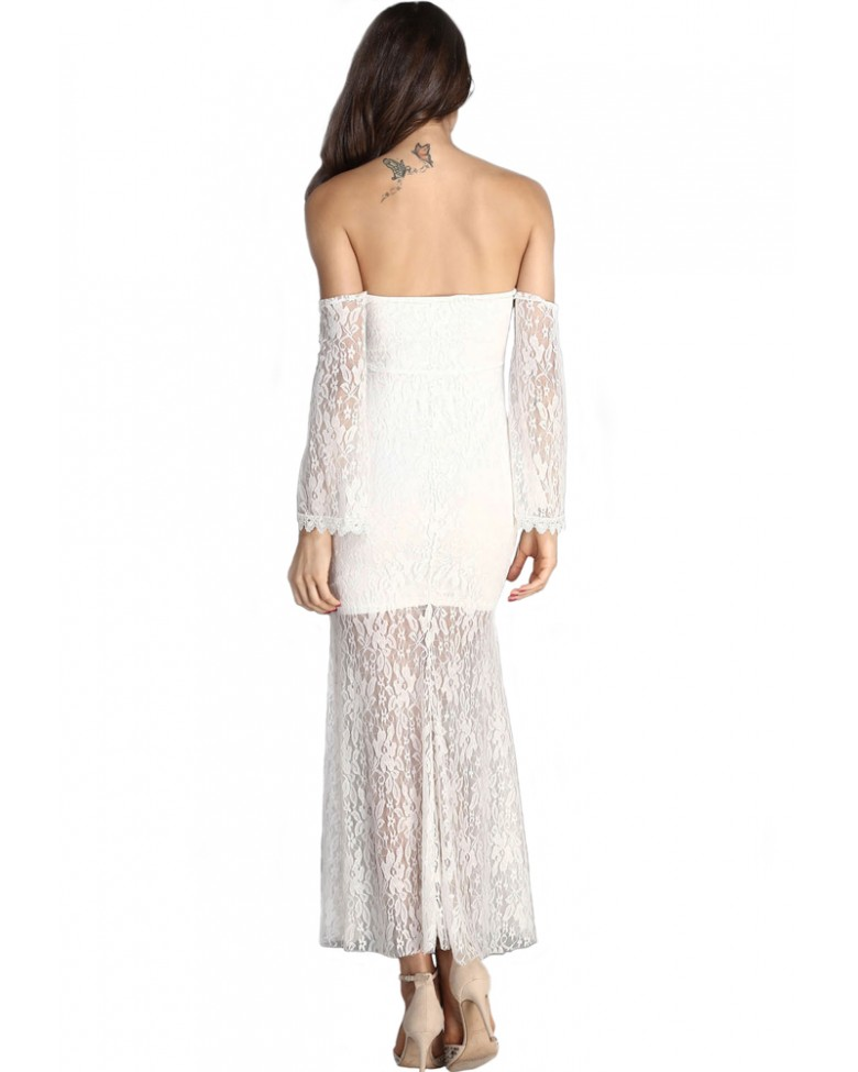 Feminine lace sleeves and delicate lace covers this long dress throughout Backgarden Floral Lace See-Though Deep V-Neck Long Sleeves Bridesmaid Maxi Dress w/Necklace by Backgarden.