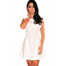 White Textured Skater Mini Dress