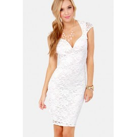 Hollow Out Trendy Lily Lace Midi Dress White