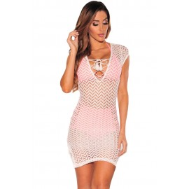 White V Neck Lace up Beach Cover up Dress