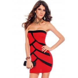 Red Splice Strapless Mini Dress