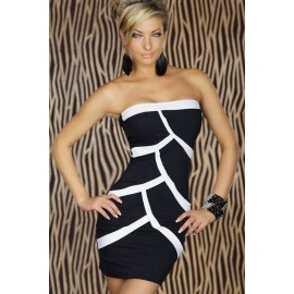 Black Splice Strapless Mini Dress
