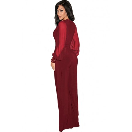 Embellished Cuffs Mesh Sleeves Jumpsuit Wine