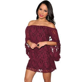 Wine Lace Off The Shoulder Sexy Mini Dress