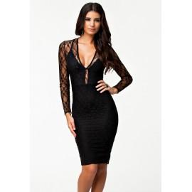 Lacy Flirt Evening Midi Dress Black