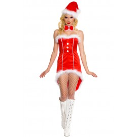 Party Xmas Christmas Miss Santa Tuxedo Costume Set