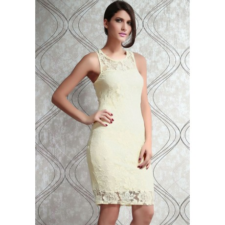 Secret Password Pale Yellow Lace Style Midi Dress
