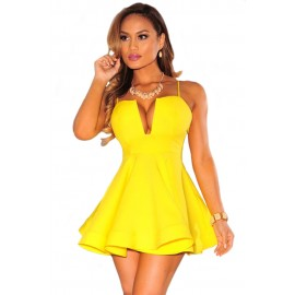 Yellow Plunging Flared Padded High Waist Mini Dress