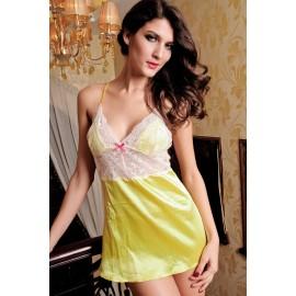 Sexy Yellow Satin Hammock Babydoll With Lace Thong Sets