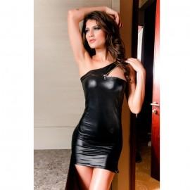Faux Leather Sleeve Mini Dress