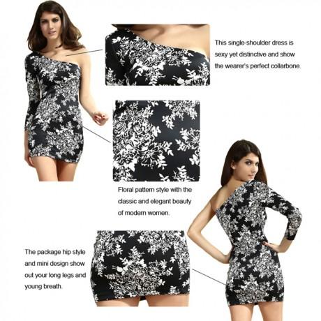 Asymmetrisches One Arm Minikleid Mini Bodycon Dress Black White