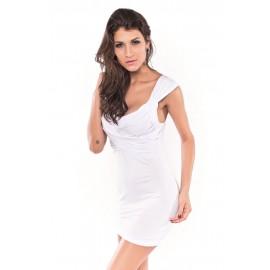 Drape Front Top Low V-Neck Mini Dress White