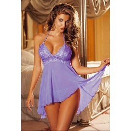 Multi Fibre Gorgeous Babydoll With G-String Set Purplp