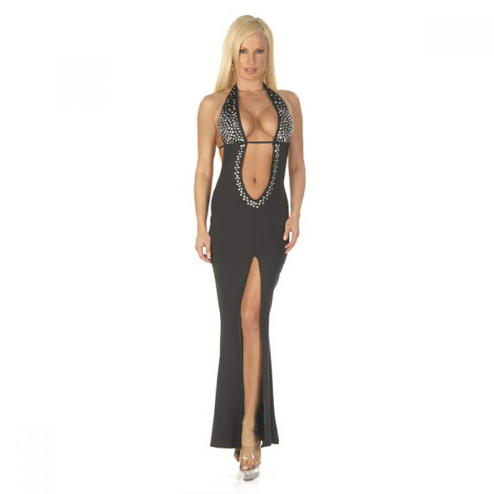 Bare Midriff Halter Top Gown With Rhinestone Detail Dress