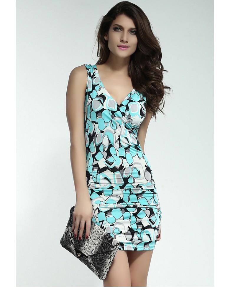 V neck summer dresses teal – Womans wallet and dresses