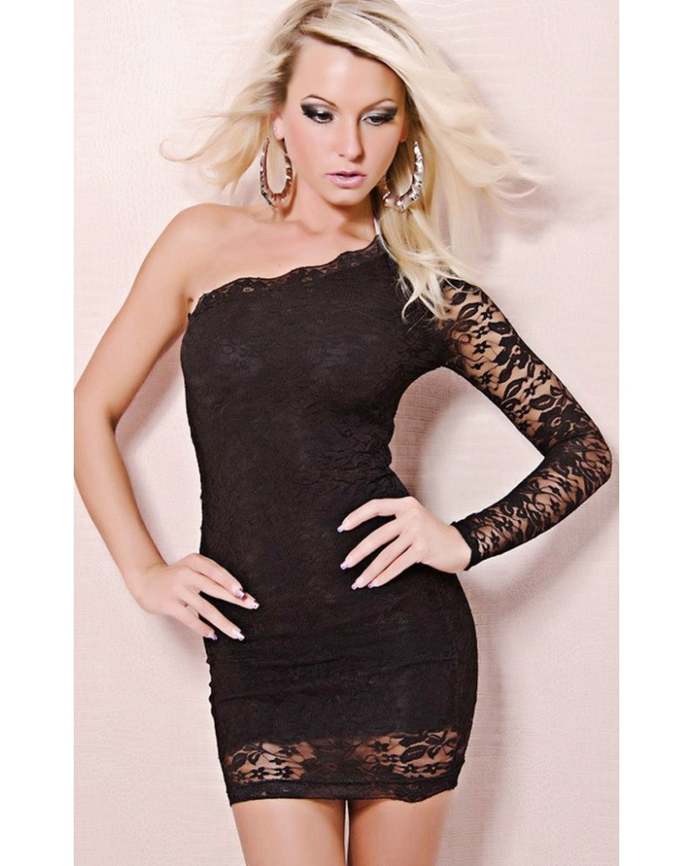 official site catch fashion one sleeve mini dress with g string black. Black Bedroom Furniture Sets. Home Design Ideas
