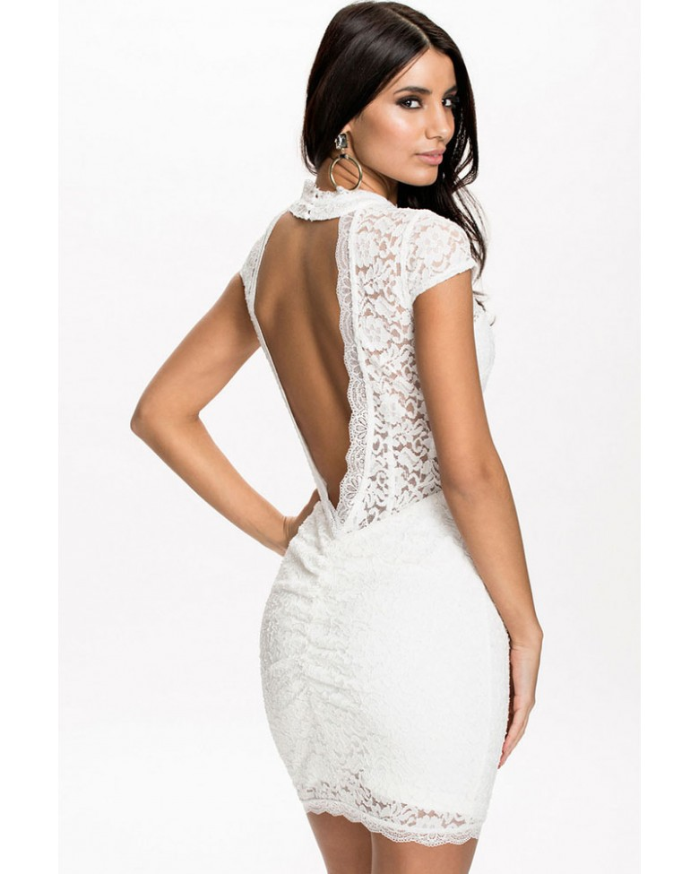 High Neck Backless White Lace