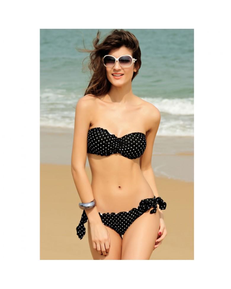 official site bohemian ruffled bandeau bikini. Black Bedroom Furniture Sets. Home Design Ideas